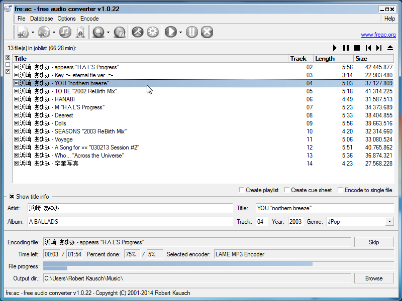 Click to view fre:ac - free audio converter 1.0.20a screenshot
