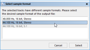 Selection of desired output sample format
